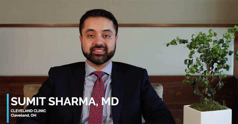 Video thumbnail of Dr. Sumit Sharma discussing uveitis treatment and patient types.