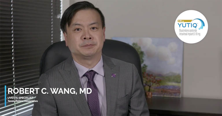 Video thumbnail of Dr. Robert Wang discussing preparing to start YUTIQ injections in office, company support and ideal patients. YUTIQ injection on actual patient included in video.