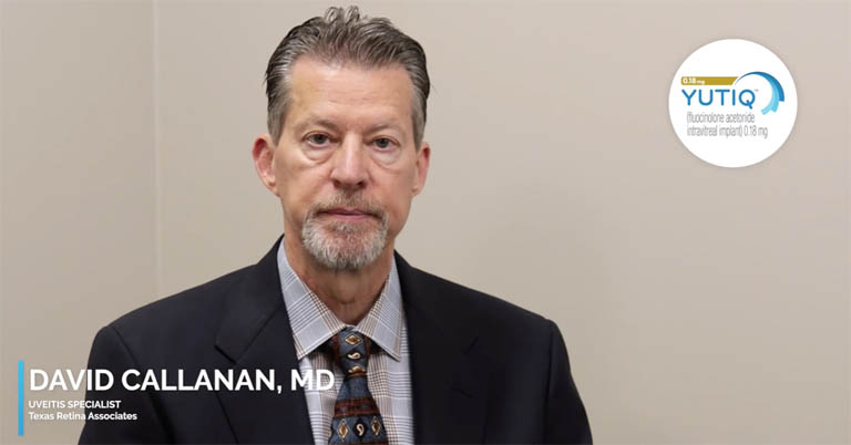 Video thumbnail of Dr. David Callanan discussing YUTIQ support and follow-up for patients.