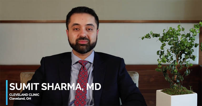 Video of Dr. Sumit Sharma discussing YUTIQ use with patients and follow-up.